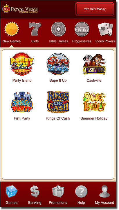 Royal Vegas native casino app on mobile