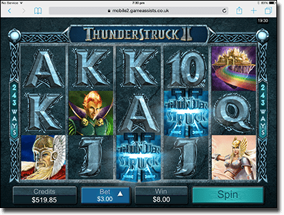 Thunderstruck II pokies on iPad