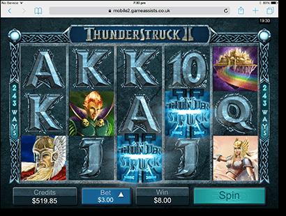 Thunderstruck II pokies on iPad