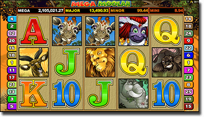 Mega Moolah Microgaming progressive pokies game