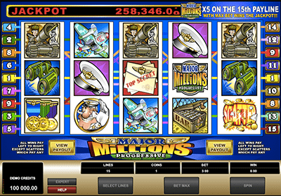 Major Millions progressive jackpot pokies by Microgaming