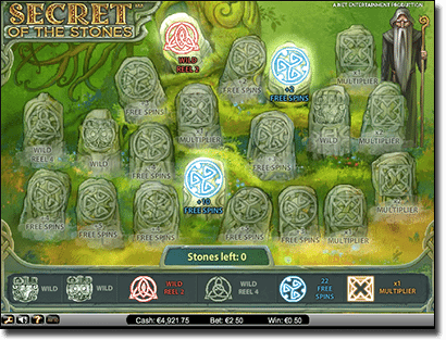 Secret of the Stones free spins bonus feature