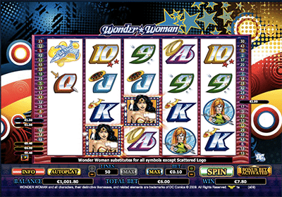Wonder Woman DC heroes pokies by Cryptologic