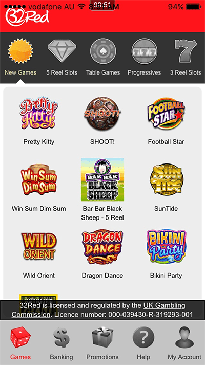 32Red mobile casino - Android and iPhone compatible