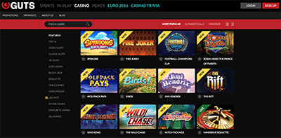 Guts Casino online pokies games catalogue