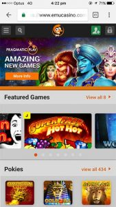 Emu Casino mobile site on Android, iOS, Windows